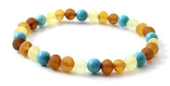 Bracelet, Turquoise, Mix, Multicolor, Amber, Baltic, Stretch, Green, Adult, Jewelry