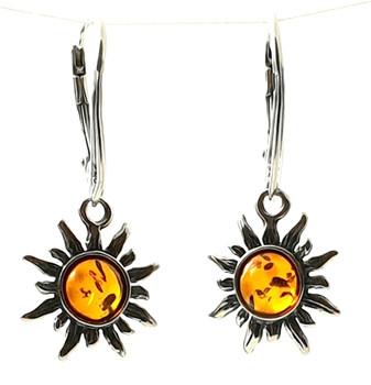 Earrings, Jewelry, Sun, Drop, Shape, Dangle, Amber, Baltic, Cognac, Sterling Silver 925