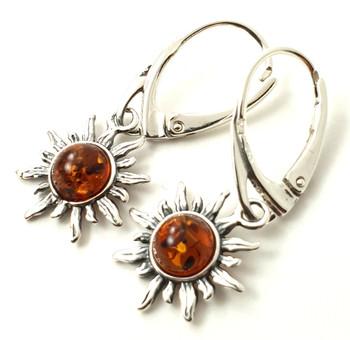 Earrings, Jewelry, Sun, Drop, Shape, Dangle, Amber, Baltic, Cognac, Sterling Silver 925 2