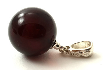 Cherry, Ball, Amber, Round, Pendant, Sterling Silver 925, Jewelry, Black, Small, Minimalist