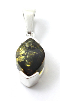Green, Pendant, Amber, Silver, Baltic, Sterling 925, Jewelry, Minimalist, Small