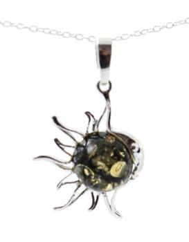 Sun, Pendant, Amber, Baltic, Green, Shape, Silver, Sterling 925, Jewelry, Jewellery