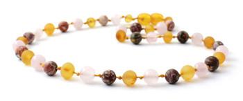 honey, amber, necklace, leopardskin jasper, raw, unpolished, rose quartz, teething, baltic
