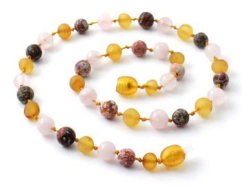 honey, amber, necklace, leopardskin jasper, raw, unpolished, rose quartz, teething, baltic 2