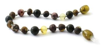 green, anklet, bracelet, teething, jewelry, amber, baltic, raw, green, unpolished, green lace stone, leopardskin jasper 2