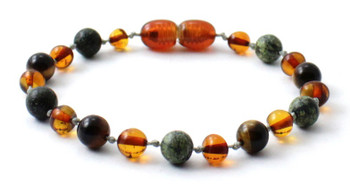 cognac, green lace stone, anklet, bracelet, teething, baltic, amber, tiger eye, jewelry