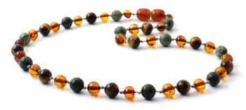 cognac, green lace stone, amber, baltic, tiger eye, necklace, jewelry, teething