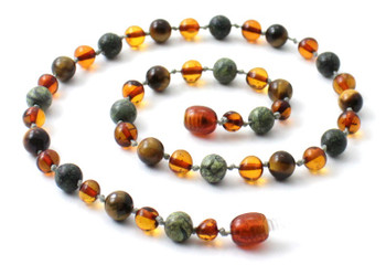 cognac, green lace stone, amber, baltic, tiger eye, necklace, jewelry, teething 2