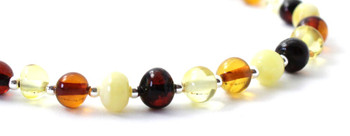jewelry, anklet, women, mix, amber, multicolor, silver, sterling 925, jewellery, baltic 3