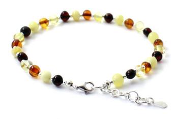 jewelry, anklet, women, mix, amber, multicolor, silver, sterling 925, jewellery, baltic