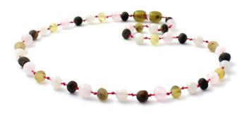 necklace, green, raw, amber, unpolished, jewelry, rose quartz, moonstone, gemstone