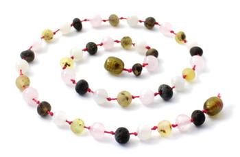 necklace, green, raw, amber, unpolished, jewelry, rose quartz, moonstone, gemstone 2