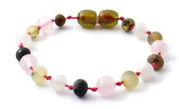 green, raw, amber, unpolished, baltic, rose quartz, bracelet, moonstone, anklet