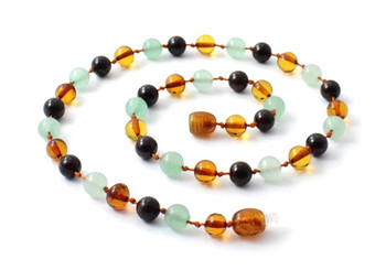 Amber, Green Aventurine, Necklace, Gemstone, Beaded, Garnet, Teething, Jewelry 2