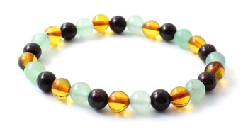 Bracelet, Gemstone, Stretch, Amber, Baltic, Jewelry, Women, Aventurine, Green, Garnet