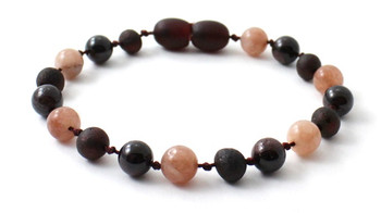 Garnet, Sunstone, Amber, Baltic, Raw, Cherry, Bracelet, Anklet, Teething, Jewelry, Knotted