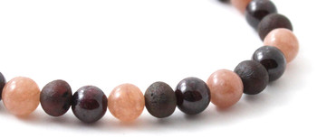 Garnet, Amber, Bracelet, Women, Jewelry, Raw, Cherry, Unpolished, Baltic, Sunstone 2