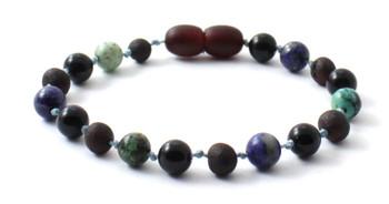 Bracelet, Amber, Raw, Cherry, Unpolished, Anklet, Baltic, African Turquoise, Obsidian, Lapis Lazuli