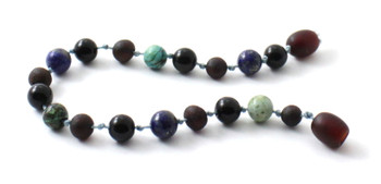 Bracelet, Amber, Raw, Cherry, Unpolished, Anklet, Baltic, African Turquoise, Obsidian, Lapis Lazuli 2