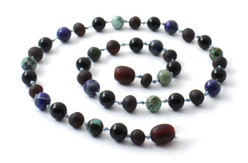 Necklace, Amber, Obsidian, Baltic, Raw, Cherry, Black, African Turquoise, Jewelry, Beaded 2