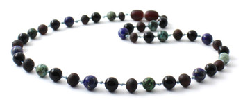 Necklace, Amber, Obsidian, Baltic, Raw, Cherry, Black, African Turquoise, Jewelry, Beaded