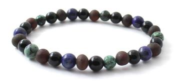 Bracelet, Amber, Stretch, African Turquoise, Baltic, Jewelry, Cherry, Lapis Lazuli, Obsidian