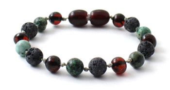 Cherry, Anklet, Bracelet, Amber, Baltic, Grey Lava, African Turquoise, Jewelry, Beaded