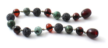 Cherry, Anklet, Bracelet, Amber, Baltic, Grey Lava, African Turquoise, Jewelry, Beaded 2