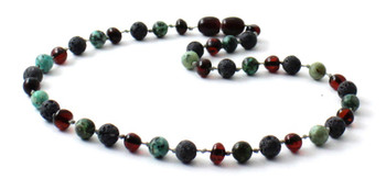 Necklace, Grey Lava, Amber, Cherry, Black, Beaded, African Turquoise, Jewelry, Baltic