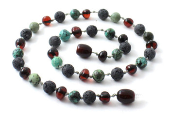 Necklace, Grey Lava, Amber, Cherry, Black, Beaded, African Turquoise, Jewelry, Baltic 2
