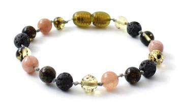 Green, Anklet, Amber, Baltic, Grey, Lava, Sunstone, Gemstone, Jewelry, Bracelet