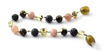 Green, Anklet, Amber, Baltic, Grey, Lava, Sunstone, Gemstone, Jewelry, Bracelet 2