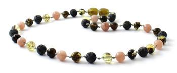 Green, Baltic, Amber, Necklace, Gemstone, Sunstone, Jewelry, Grey, Lava, Beaded, Polished