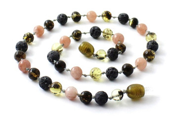 Green, Baltic, Amber, Necklace, Gemstone, Sunstone, Jewelry, Grey, Lava, Beaded, Polished 2