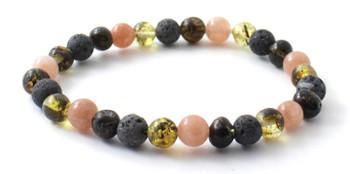 Bracelet, Sunstone, Gemstone, Beaded, Stretch, Adjustable, Baltic, Amber, Grey Lava, Green