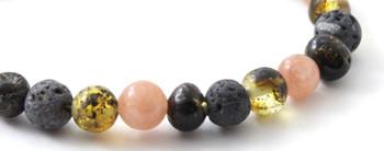 Bracelet, Sunstone, Gemstone, Beaded, Stretch, Adjustable, Baltic, Amber, Grey Lava, Green 2