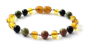 Anklet, Honey, Amber, Bracelet, Golden, Unakite, Obsidian, Beaded, Knotted, Jewelry