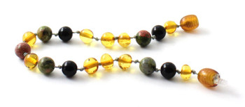 Anklet, Honey, Amber, Bracelet, Golden, Unakite, Obsidian, Beaded, Knotted, Jewelry 2