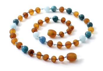 Necklace, Blue, Gemstone, Aquamarine, Amber, Raw, Cognac, Apatite, Boy, Teething 2