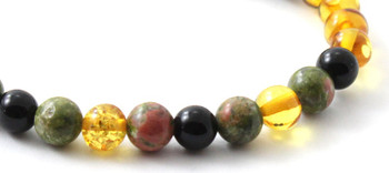 Bracelet, Amber, Honey, Polished, Obsidian, Unakite, Stretch, Elastic, Adult, Women 2