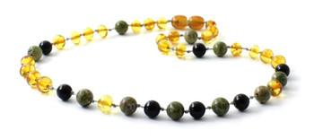 Necklace, Obsidian, Amber, Baltic, Honey, Unakite, Polished, Jewelry, Teething, Gemstone