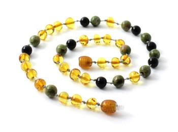 Necklace, Obsidian, Amber, Baltic, Honey, Unakite, Polished, Jewelry, Teething, Gemstone 2