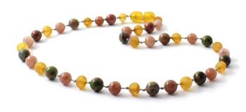 Sunstone, Necklace, Amber, Baltic, Honey, Raw, Unakite, Jewelry, Unpolished