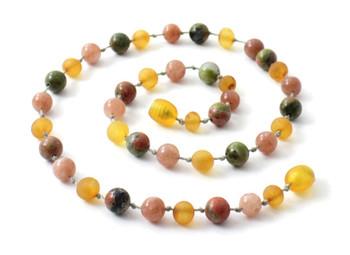 Sunstone, Necklace, Amber, Baltic, Honey, Raw, Unakite, Jewelry, Unpolished 2