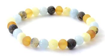 Mix, Amber, Multicolor, Baltic, Bracelet, Jewelry, Stretch, Aquamarine, Blue, Raw, Unpolished