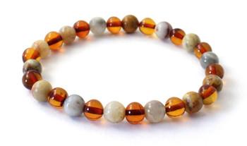 Stretch, Bracelet, Amber, Baltic, Crazy Agate, Polished, Cognac, Gemstone, Jewelry