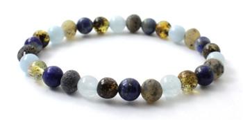 Bracelet, Green, Amber, Lapis Lazuli, Raw, Baltic, Unpolished, Aquamarine, Blue, Stretch