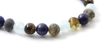 Bracelet, Green, Amber, Lapis Lazuli, Raw, Baltic, Unpolished, Aquamarine, Blue, Stretch 2