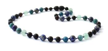 Cherry, Necklace, Blue, Apatite, Green Aventurine, Gemstone, Amber, Baltic, Lapis Lazuli