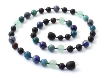 Cherry, Necklace, Blue, Apatite, Green Aventurine, Gemstone, Amber, Baltic, Lapis Lazuli 2